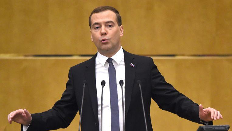 De Russische premier Medvedev.
