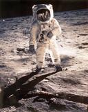 Astronaut Edwin 'Buzz' Aldrin op de maan tijdens ruimtemissie Apollo 11 in 1969.