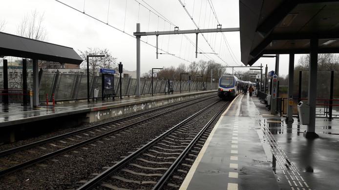 De trein op station Den Bosch Oost stopt ver voorbij de overkapping