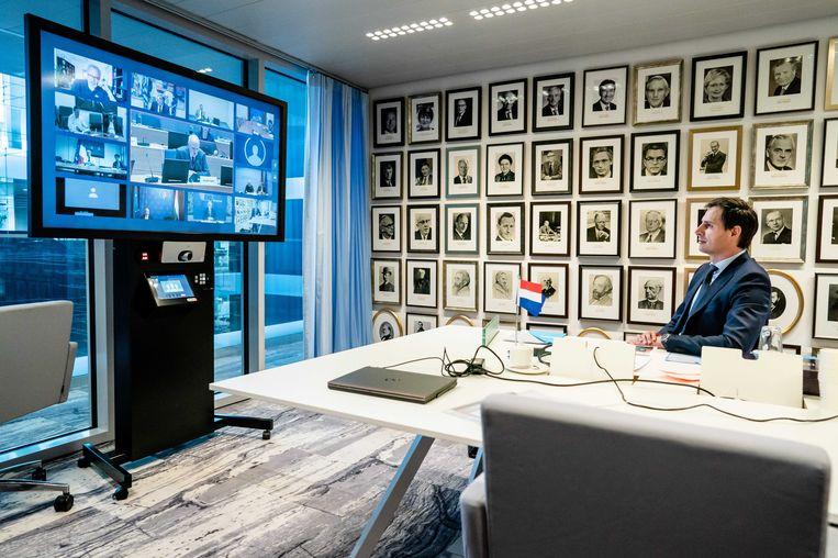 Minister Wopke Hoekstra (Financiën) tijdens een video-overleg met de Eurogroep. Beeld EPA