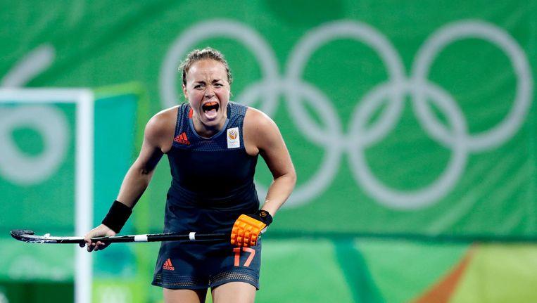 Maartje Paumen (Ned) maakt zich boos, tijdens de finale tussen de dames van Nederland en Groot-Brittannie Beeld anp