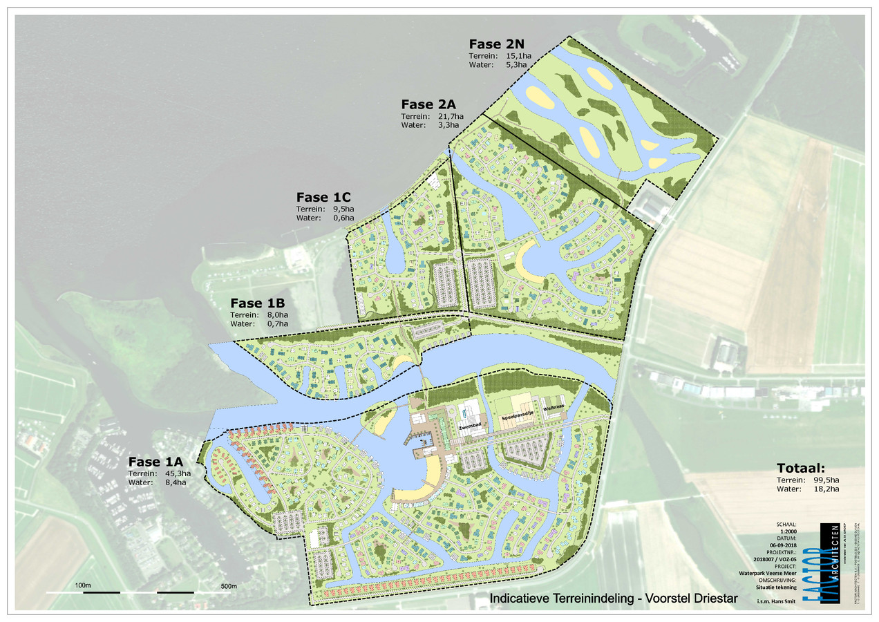 Dit is een voorlopig ontwerp dat Driestar heeft laten maken voor Waterpark Veerse Meer. Het zwembad maakt daarin deel uit van fase 1a.