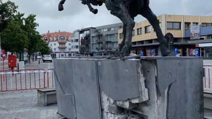 Dronkenmansrit eindigt met knal tegen kunstwerk 'Waregem Koerse', inzittenden vluchten weg