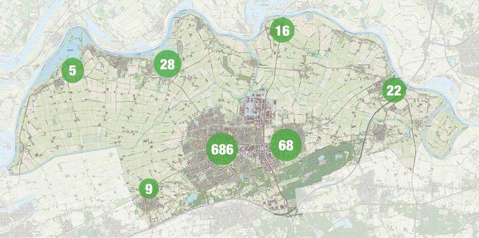 Een overzicht van het aantal meldingen per kern.