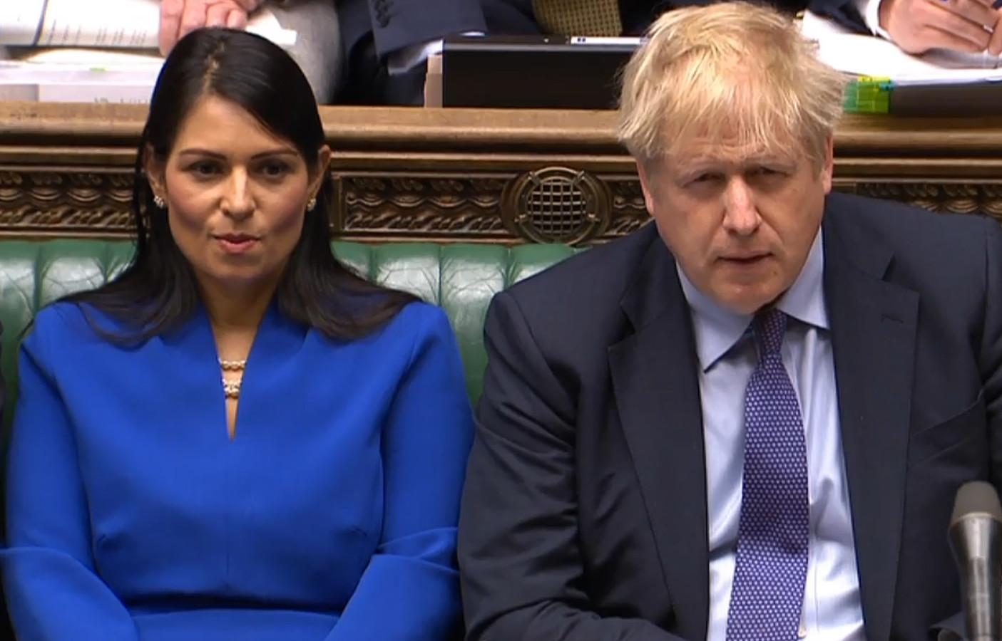 La ministre de l'Intérieur Priti Patel, et le Premier ministre Boris Johnson