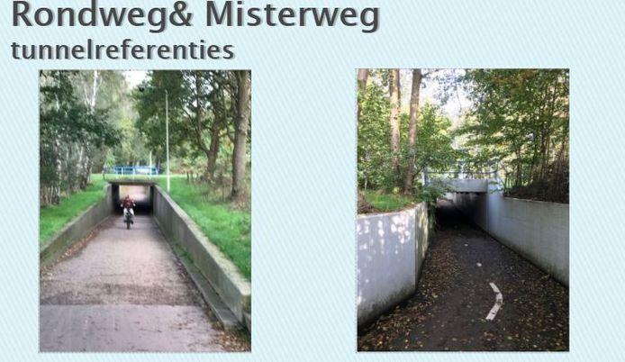 Voorbeelden van tunnels in Winterswijk voor een onderdoorgang in het spoor aan de Greversweg.