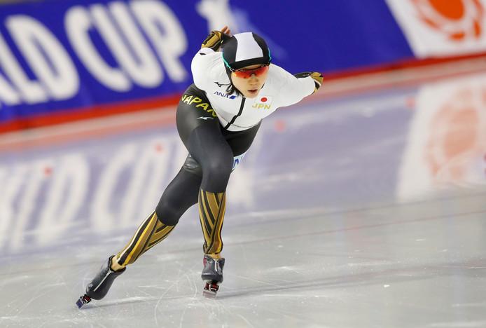 Miho Takagi op de 1500 meter tijdens de World Cup in Calgary afgelopen weekend.
