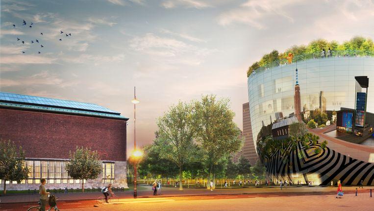 Visualisatie van het Collectiegebouw van Museum Boijmans Van Beuningen. Beeld  MVRDV