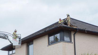 Dakbrand nadat bliksem inslaat op woning: stroom slaat ook gat in muur en laat spot uit plafond vliegen