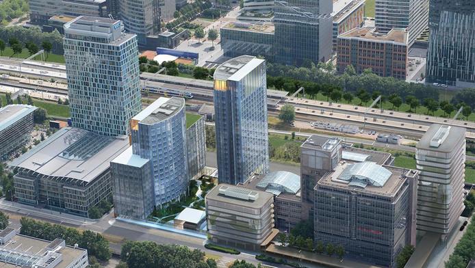 Impressie van de Tweelingtorens aan de Zuidas. De hoogste toren wordt het nieuwe Meliáhotel