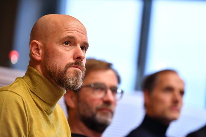 Erik ten Hag naast de Duitse topcoaches Jürgen Klopp en Thomas Tuchel.