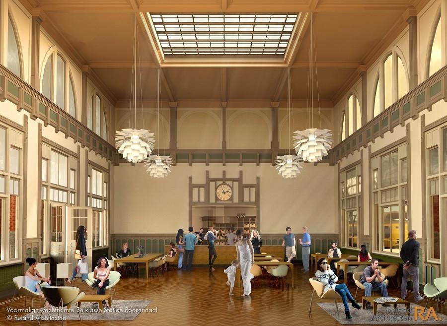 Impressie van de plannen voor het stationsgebouw in Roosendaal.