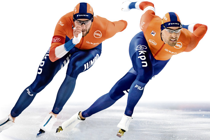 Kjeld Nuis (links) enThomas Krol. ,,Op deze baan zijn wij op de 1500 meter over het algemeen een maat te groot voor de rest.''