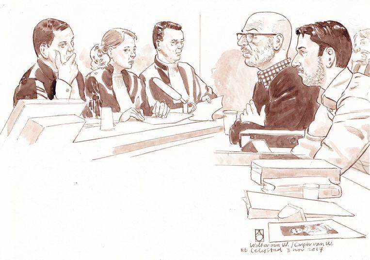 Rechtbankschets uit 2017 van verdachten Walter van W. en zijn zoon Casper van W.