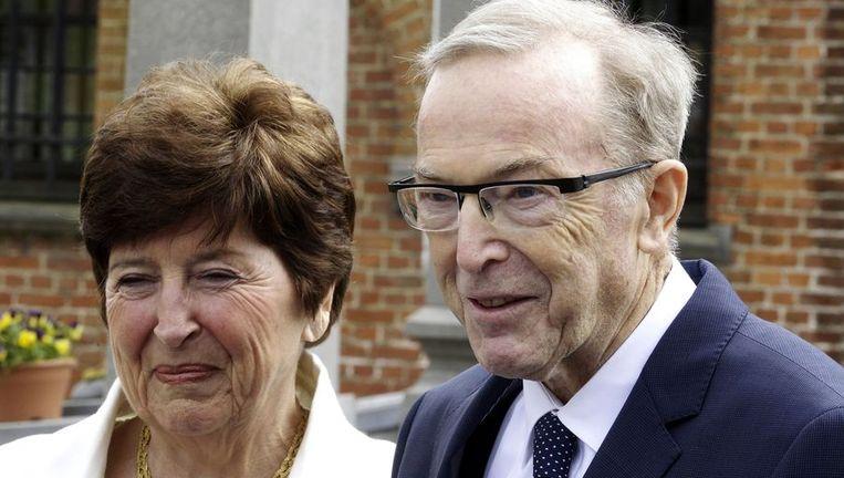 Wilfried Martens met zijn vrouw Miet Smet in april 2013. Beeld afp
