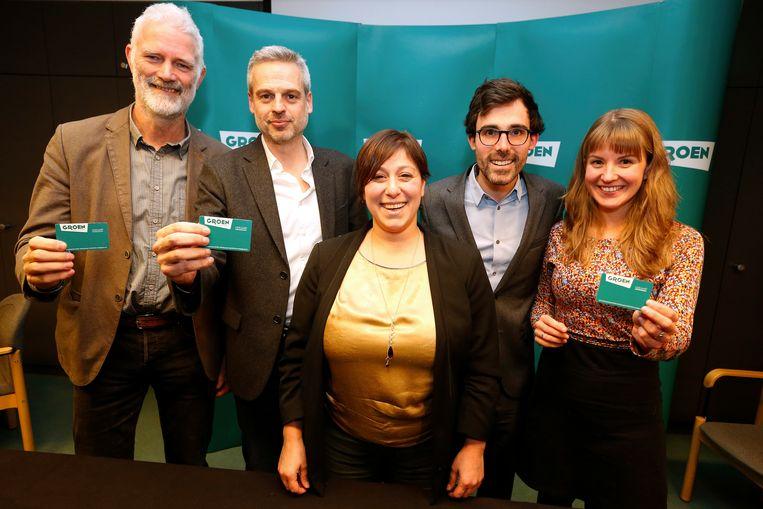 Chris Steenwegen, Bogdan Vanden Berghe, Meyrem Almaci, Kristof Calvo en Jessika Soors vanmiddag op de persconferentie.
