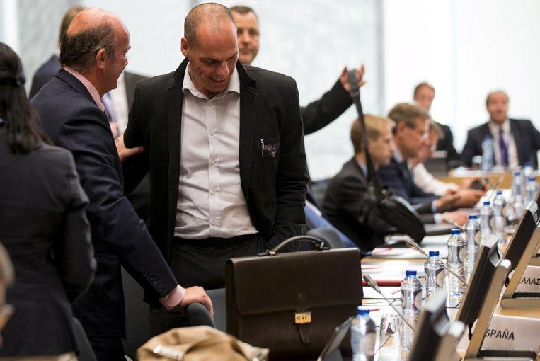 De Griekse minister van Financiën Yanis Varoufakis op de vergadering van de eurogroep.