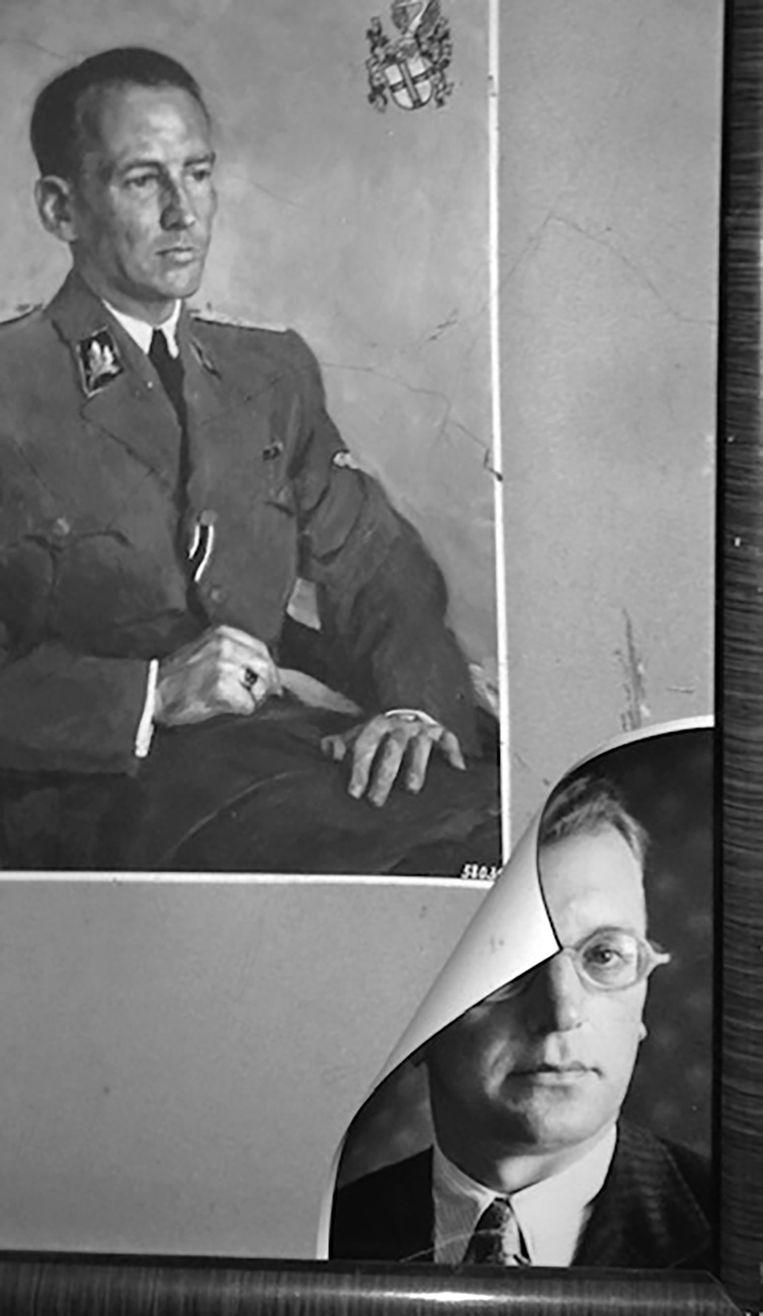Wächters zoon Horst heeft thuis een schilderij van zijn vader, met in de hoek een foto van zijn peetvader, Arthur Seyss-Inquart. Beeld Unieboekspectrum