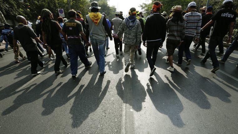 Anti-regeringsdemonstranten in de straten van Bangkok Beeld epa