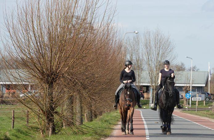 Omdat Britte (rechts), en Daphne, respectievelijk geen les kan geven en niet naar school kan door het coronavirus, zijn ze maar gaan paard rijden in de lentezon.