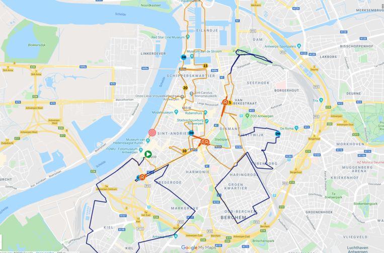 Uniek aan de marathon is dat die plaatsvindt in de hele binnenstad van Antwerpen