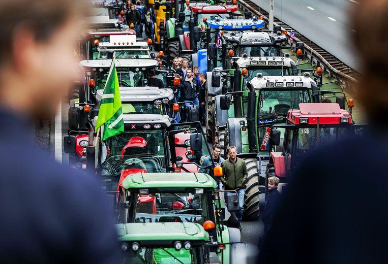 Een boerenprotest op de A12.  Beeld ANP