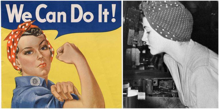 Naomi (rechts) in 1942, toen ze werkte in een fabriek waar vliegtuigonderdelen werden gemaakt. Ze werd de inspiratie voor de wereldberoemde poster.
