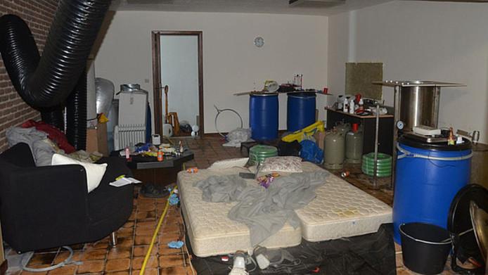 Het drugslab in het Belgische Hechtel-Eksel.