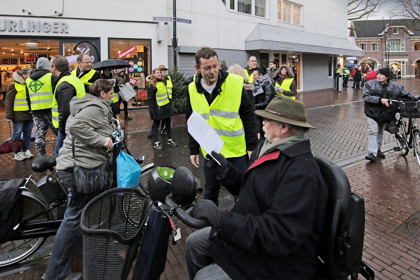 Het vorige protest van de gele hesjes in Oss, op 22 december.