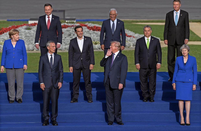 President Trump met andere Navo-leiders bij de top in Brussel.