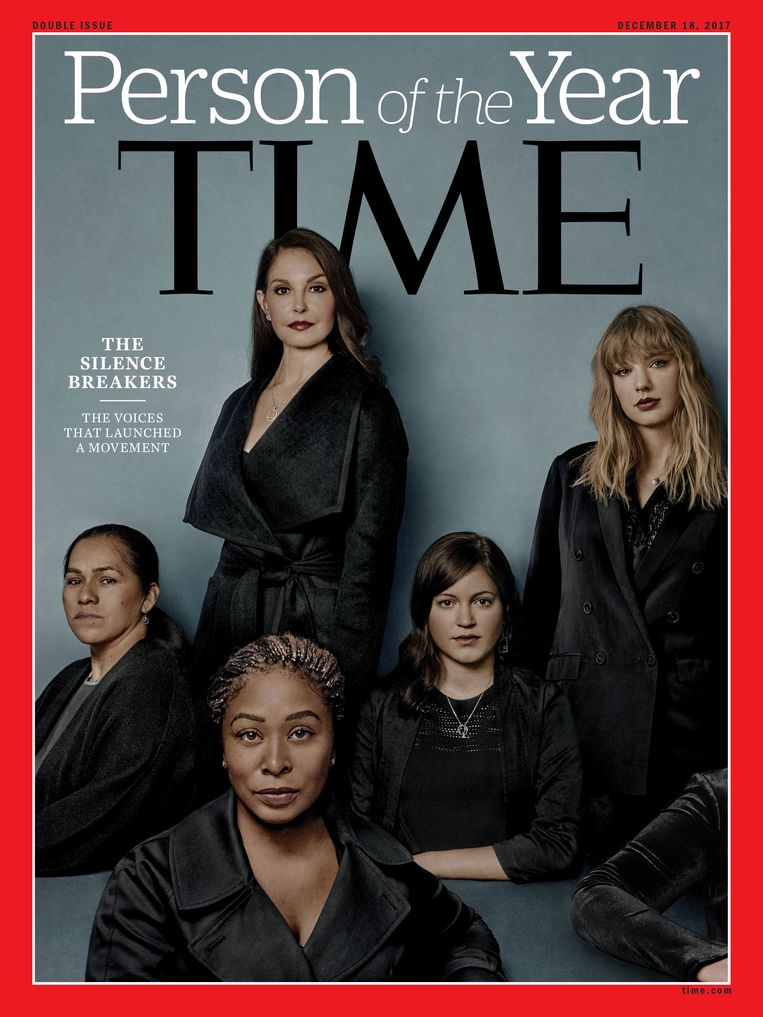 Ashley Judd, Susan Fowler, Adama Iwu, Taylor Swift en Isabel Pascual op de Person of the Year cover van Time .