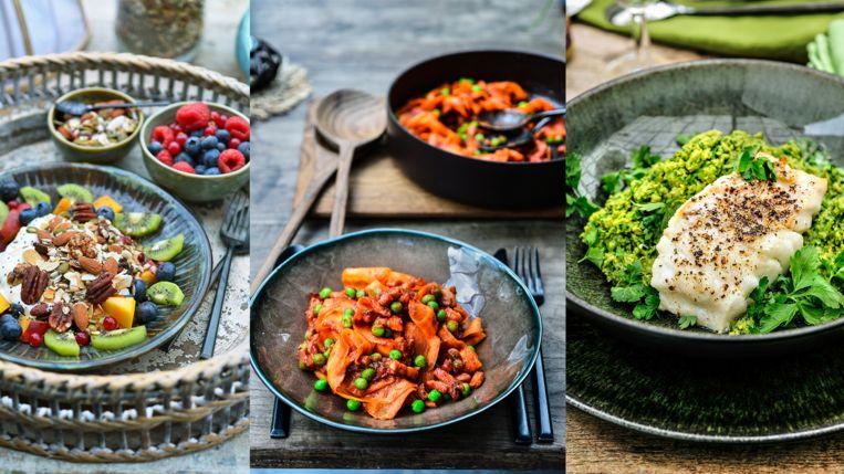 Drie recepten van Pascale Naessens: fruitontbijt, lunch met wortelen en spekblokjes en kabeljauw met pittige erwtenpuree voor avondeten.