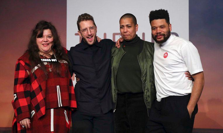 Van links naar rechts Tai Shani, Lawrence Abu Hamdan, Helen Cammock en Oscar Murillo, de gezamenlijke winnaars van de Turner Prize 2019.
