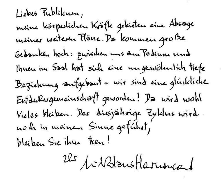 De brief waarin Harnoncourt zijn vertrek toelicht. Beeld epa