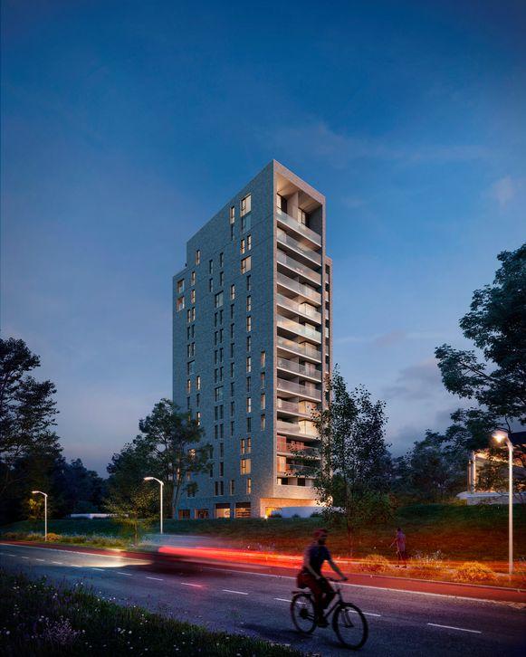 De Kapertoren - met zijn 16 verdiepingen en 74 appartementen en stadslofts - wordt straks de hoogste woontoren van Hasselt.