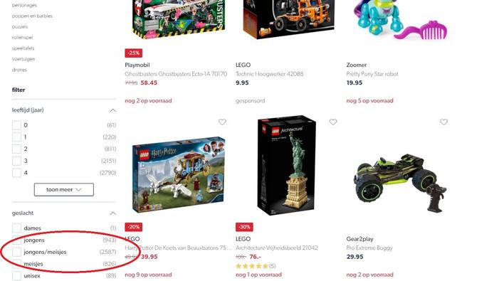 Op de website van Wehkamp kunnen bezoekers filteren of ze jongens- of meisjesspeelgoed willen zien