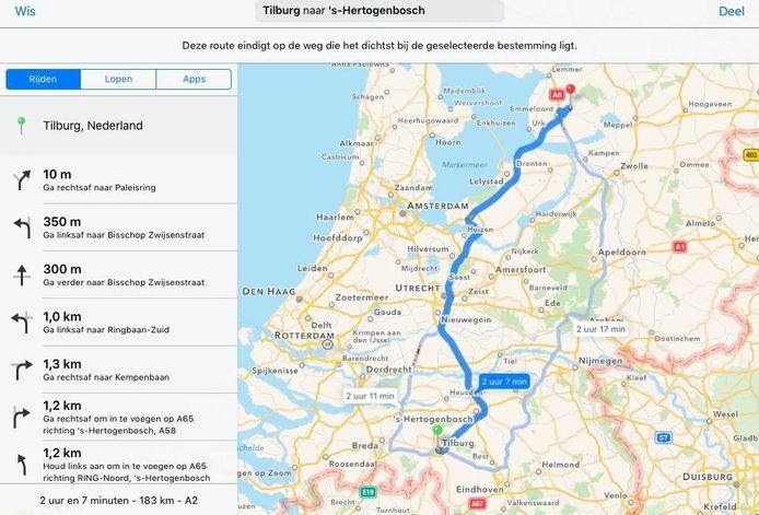 Deze route zou volgens Apple Maps in Den Bosch eindigen.