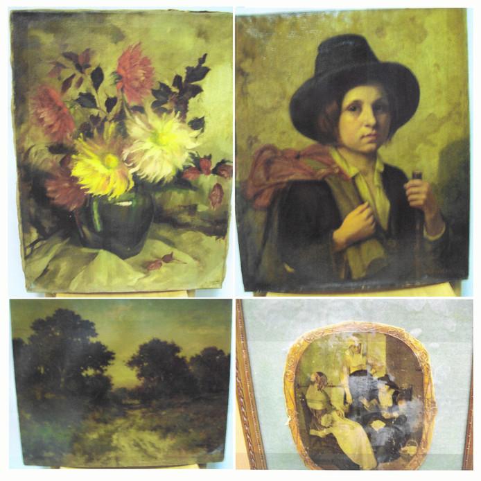 De vier uit Nijmegen gestolen schilderijen.