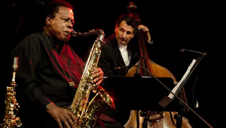 Saxofonist Wayne Shorter met bassist John Patitucci tijdens North Sea Jazz. Beeld ANP