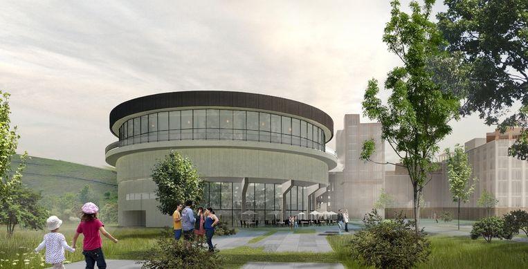 De bestaande waterbassins op de mijnsite worden omgebouwd tot een indoorduikcentrum.