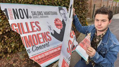 Vandalen vernielen aankondigingsbord Gilles Simoens