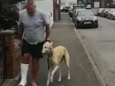 Une jambe dans le plâtre? Ce chien a trouvé le moyen idéal pour remonter le moral de son maître