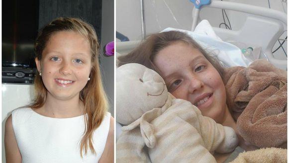 Maithili voor ze ziek werd (links) en in het ziekenhuis in Mexico.