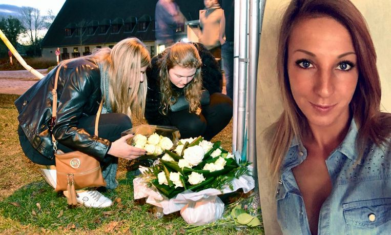 Vriendinnen van Sharon Gruwez leggen bloemen neer op de plaats van het ongeval. Sharon zat als passagier in de BMW  die bestuurd werd door haar ex-vriend Davy K. Zij overleefde de crash niet, Davy K. mocht nog dezelfde dag het ziekenhuis verlaten.