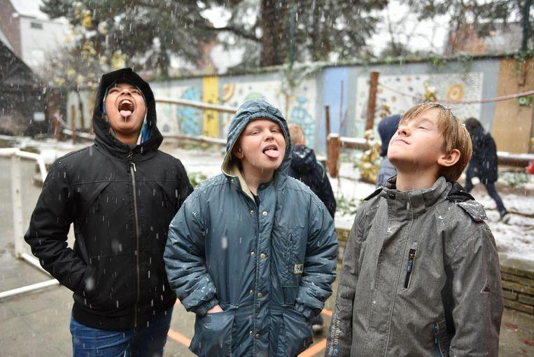 Drie jongens proeven van de eerste sneeuw.