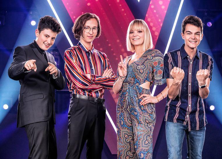 The Voice van Vlaanderen seizoen 6, liveshow 4, finale op vrijdag 24 mei 2019 bij VTM. Op de foto: Wannes, Ibe, Fee en Bram.