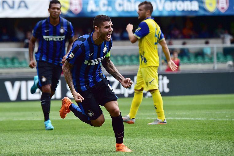 Mauro Icardi juicht na de 0-1 van Inter Beeld anp