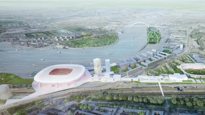 Een impressie van Feyenoord City, gemaakt door OMA, Office for Metropolitan Aerchitecture van Ren Koolhaas.