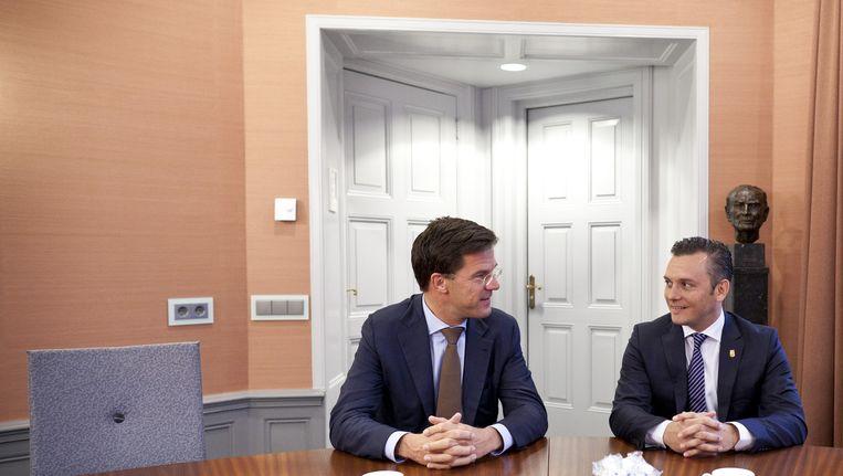 Gerrit Schotte, premier van Curaçao, vorig jaar op bezoek bij zijn Nederlandse ambtsgenoot Mark Rutte. Beeld ANP