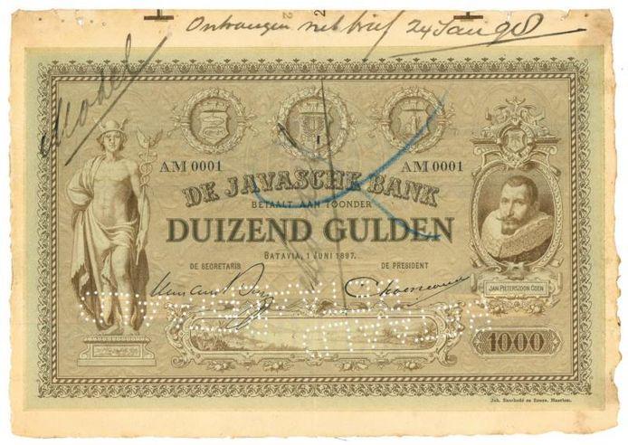 Een verzamelaar legde 41.000 euro neer voor dit oude bankbiljet uit 1897.